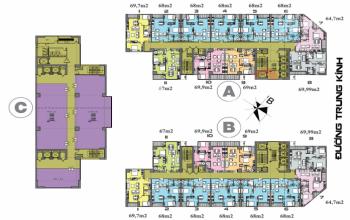 Cc cần bán gấp căn hộ chung cư 219 trung kính tòa a căn 1611, dt 67m2, giá 29 tr/m2. 0965 490 578