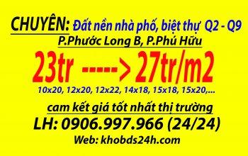biệt thự đường Đỗ Xuân Hợp, p.phước long B, Q9, 27tr/m2, 10x20. LH: 0906997966