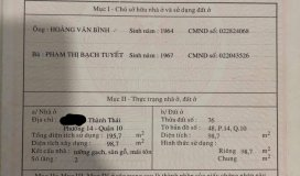 Cần Bán HXH Thành Thái, Phường 14, Quận 10. Thành Phố HCM.