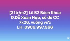 [31tr/m2] 7x26, sổ đỏ CC, lô B2 d.án Bách Khoa, Đỗ Xuân Hợp Q9. LH: 0906997966