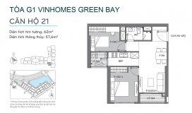 Cần bán gấp căn hộ G1-15A21 – Vinhomes Green bay Mễ Trì, 57,7M2, 2PN,1VS, 2,5 tỷ